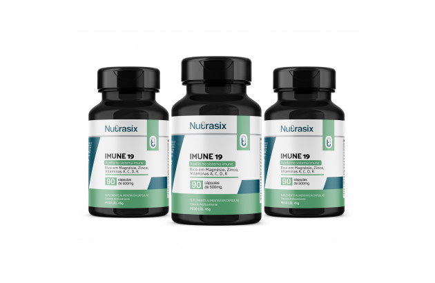 Kit com 3 Imune-19 -vit p/ imunidade 90 cáps - Nutrasix