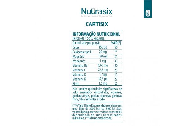 Composto com colágeno tipo II Cartisix 90 cáps - Nutrasix