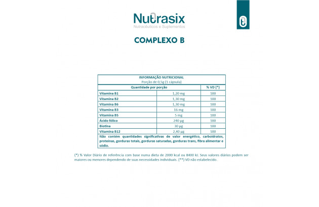 Vitaminas do complexo B - 30 Cápsulas