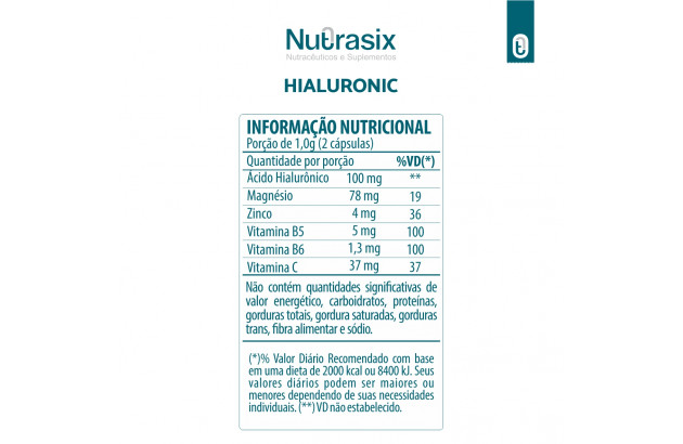Composto com Ácido Hialurônico 60 cápsulas - Nutrasix