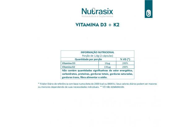 Vitamina D3 + K2 - 60 Cápsulas