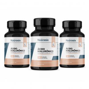 Kit com 3 Ácido Hialurônico 90 cáps - Nutrasix