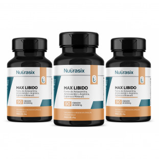 Kit com 3 Max Libido 90 cápsulas - Nutrasix